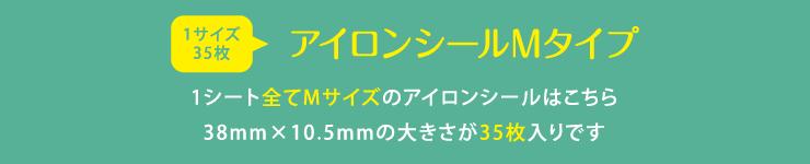 お名前アイロンシールMサイズ 1シート全てMサイズのお名前アイロンシールはこちら 38mm×10.5mmの大きさが35枚入りです