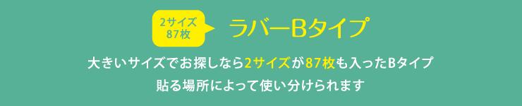 ラバーネームB 大きいサイズでお探しなら2サイズが87枚も入ったBタイプ 貼る場所によって使い分けられます