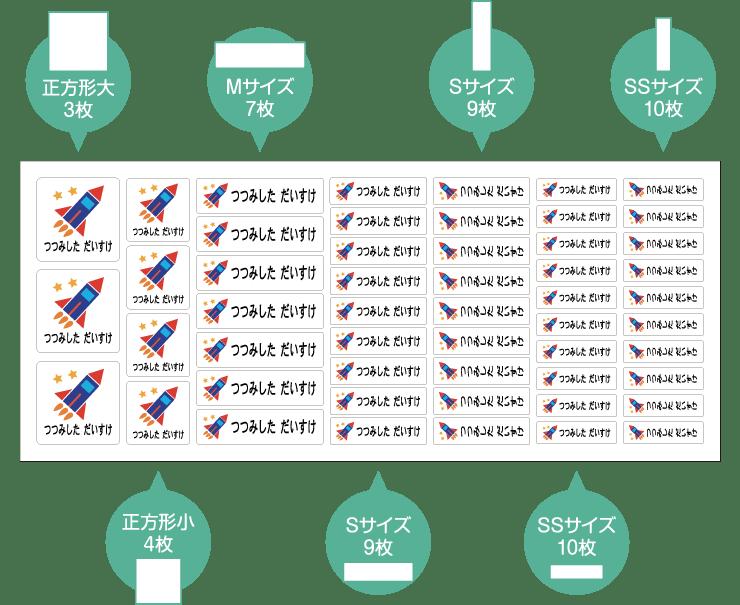 お名前アイロンシールC Lサイズ:8枚 Mサイズ:10枚 Sサイズ:39枚 SSサイズ横型:48枚 SSサイズ縦型:14枚 XSサイズ横型:84枚 XSサイズ縦型:40枚