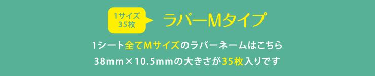 ラバーネームMサイズ 1シート全てMサイズのラバーネームはこちら 38mm×10.5mmの大きさが35枚入りです