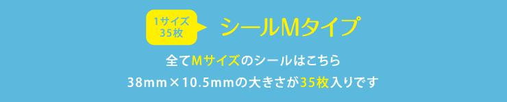 名前シールMサイズ 全てMサイズのシールはこちら 38mm×10.5mmの大きさが35枚入りです
