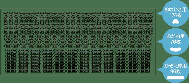 さんすうセットシール 豆型:232枚 ヨコ型小:224枚 ヨコ型中:100枚
